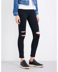 J Brand - Ladies Black Frayed Hem Concealed Zip 8227 Skinny Cropped Mid-rise Jeans - Lyst