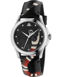 Gucci - Ya1264007 Le Marché Des Merveilles Stainless Steel And Leather Watch - Lyst