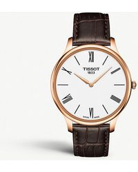Tissot - T063.409.36.018.00 Tradition Stainless Steel And Leather Quartz Watch - Lyst