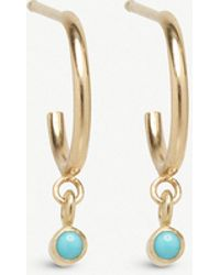 The Alkemistry - Zoë Chicco 14ct Yellow-gold And Turquoise huggie Hoop Earrings - Lyst