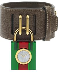 a2459143caf Gucci - Ya150503 Padlock Mother-of-pearl Leather Strap Quartz Watch - Lyst