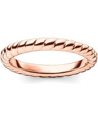 Thomas Sabo - Glam & Soul 18ct Rose-gold Plated Sterling Silver Twisted Midi Ring - Lyst