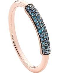Monica Vinader - Stellar 18ct Rose Gold-plated Vermeil And Blue Diamond Stacking Ring - Lyst