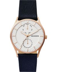 Skagen - Skw6372 Holst Multifunction Rose-gold And Leather Watch - Lyst