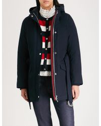 Claudie Pierlot - Ganash Double-layered Striped-trim Cotton Coat - Lyst