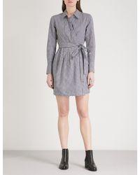 Mo&co. - Gingham Stretch Cotton-blend Mini Shirt Dress - Lyst