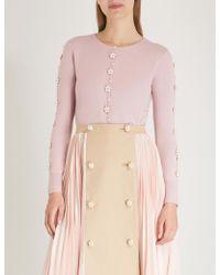 Huishan Zhang - Floral-embellished Wool Cardigan - Lyst