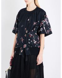 Sacai - Floral-embroidered Shell Top - Lyst