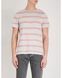 Michael Kors - Striped Linen-blend T-shirt - Lyst