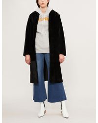 Sandro - Self-tie Shearling Coat - Lyst