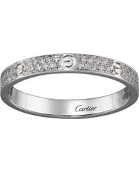 Cartier - Love 18ct White-gold And Diamond Ring - Lyst