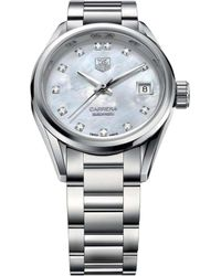 Tag Heuer - War2414.ba0770 Carrera Stainless Steel And Mother-of-pearl Watch - Lyst