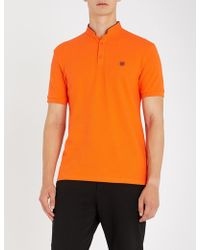 The Kooples - Officer-collar Cotton-piqué Polo Shirt - Lyst