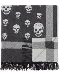 Alexander McQueen - Large Skull Print Wool And Cashmere-blend Shawl - Lyst