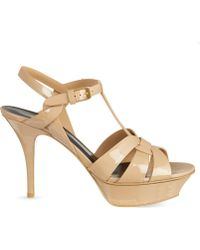 Saint Laurent - Tribute 75 Patent-leather Heeled Sandals - Lyst