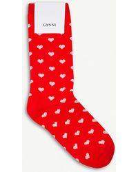 Ganni | Classon Hearts Ankle Socks | Lyst