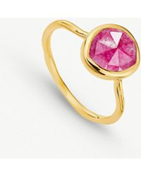 Monica Vinader - Siren 18ct Gold Vermeil And Pink Quartz Medium Stacking Ring - Lyst