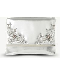 Dune - Silver Floral Bellfrow Embellished Metallic Clutch Bag - Lyst