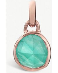 Monica Vinader - Siren Mini 18ct Rose-gold Vermeil And Amazonite Bezel Pendant - Lyst