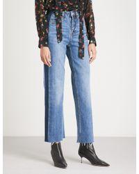 Mo&co. - Frayed-hem High-rise Denim Jeans - Lyst