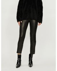 J Brand - Ruby Cigarette High-rise Leather Trousers - Lyst