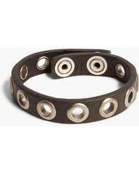 DIESEL - Avlad Grommet Leather Bracelet - Lyst