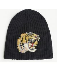 afab8820675e6 Gucci - Tiger Patch Knitted Wool Beanie - Lyst