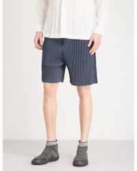 Homme Plissé Issey Miyake - Dropped-crotch Pleated-mesh Shorts - Lyst