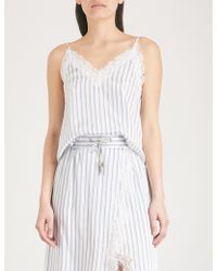 The Kooples - Lace-trimmed Striped Satin Camisole - Lyst