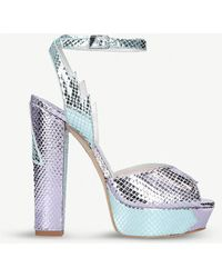 Terry De Havilland - Sofia Metallic Snake-effect Leather Heeled Sandals - Lyst