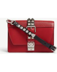 dd56a4f67572 Prada - Women's Red Elektra Small Leather Shoulder Bag - Lyst