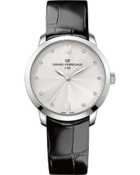 Girard-Perregaux - 1966 Stainless Steel Leather And Diamond Watch - Lyst