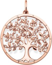Thomas Sabo - Tree Of Love 18ct Rose Gold-plated And Zirconia Pendant - Lyst