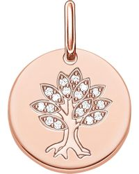 Thomas Sabo - Tree Of Life 18ct Rose Gold Plated Sterling Silver Pendant - Lyst