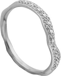 Monica Vinader - Riva Wave Stacking Sterling Silver Pavé Diamond Ring - Lyst