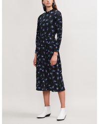 Sandro - Floral-print Midi Tea Dress - Lyst