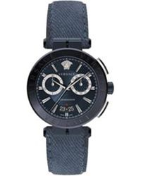 Versace - 674898 Aiakos Stainless Steel And Denim Strap Quartz Chronograph Watch - Lyst
