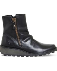 f8ac48e4b82 Fly London - Ladies Black Solid Unconventional Mon Leather Ankle Boots -  Lyst