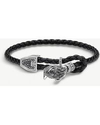 Thomas Sabo - Rebel At Heart Sterling Silver And Leather Falcon Bracelet - Lyst
