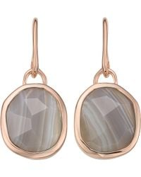 Monica Vinader - Siren Wire 18ct Rose Gold-plated And Grey Agate Earrings - Lyst