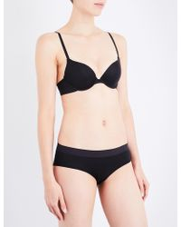DKNY | Classic Cotton Stretch-cotton Plunge Bra | Lyst