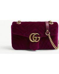 Gucci - Ladies Fuschia Pink Marmont Velvet Shoulder Bag - Lyst