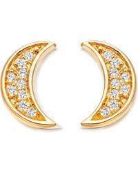Astley Clarke - Mini Moon 18ct Yellow Gold-plated Stud Earrings - Lyst