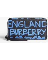 Burberry - Blue And Black Graffiti Print Elmore Grained Leather Wallet - Lyst