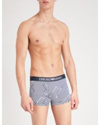 Emporio Armani - Geometric-print Slim-fit Stretch-cotton Trunks - Lyst