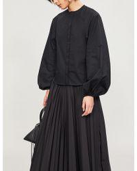 Noir Kei Ninomiya - Collarless Cotton-poplin Shirt - Lyst