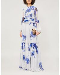 Costarellos - Floral-print Chiffon Gown - Lyst