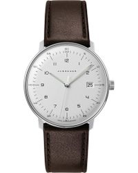 Junghans - 041/4461.00 Max Bill Stainless Steel And Leather Quartz Watch - Lyst