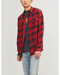 The Kooples - Embroidered Frayed Checked Woven Shirt - Lyst