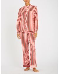 YOLKE - Striped Cotton Pyjama Set - Lyst